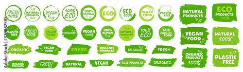 Labels and emblems organic, natural, healthy food, fresh and vegetarian food Canvas Print