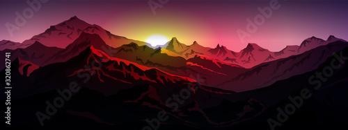 Obraz sunrice mountains eps 10 illustration background View - vector - fototapety do salonu