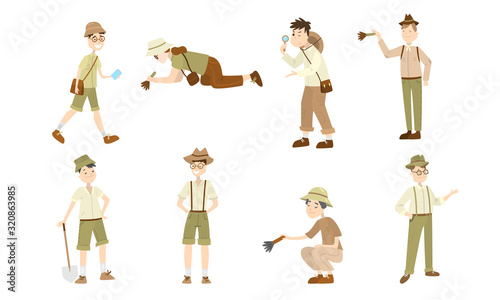 Set of different cartoon archaeologist characters at work Wallpaper Mural
