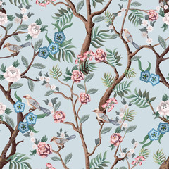 Fototapeta Natura Seamless pattern in chinoiserie style with peonies trees and birds . Vector,