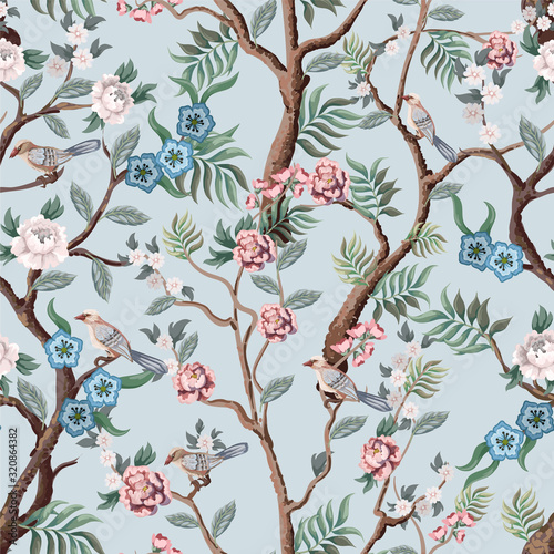 Seamless pattern in chinoiserie style with peonies trees and birds Canvas Print
