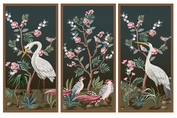 Fototapeta Vintage Folding screen in chinoiserie style with storks and peonies. Vector.