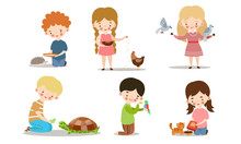 Set Of Kids Feeding And Taking Care Of Wild And Pet Animals. Vector Illustration In Flat Cartoon Style.