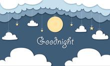 Goodnight - Hintergrund In Papierschnitt, Mond, Sterne Und Wolken Hängen Von Der Decke, Banner