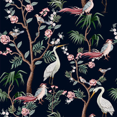 FototapetaSeamless pattern in chinoiserie style with storks, birds and peonies. Vector,