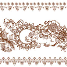 Elephant In Eastern Ethnic Style, Traditional Indian Henna Ornament. Seamless Pattern, Background. Vector Illustration..