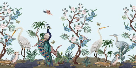 Panel Szklany Do Spa Border in chinoiserie style with herons, peacock and peonies. Vector.