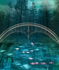 Panel Szklany 3D Dark and foggy forest landscape with a bridge over a crystal clear pond
