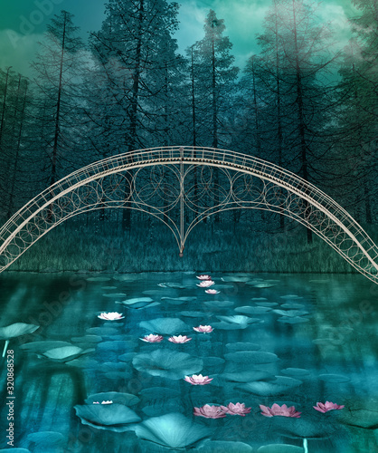 Fotografía Dark and foggy forest landscape with a bridge over a crystal clear pond