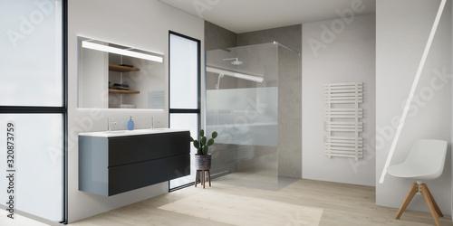 Canvas vue 3d salle de bain avec douche à l'italienne, double vasque suspendu 01