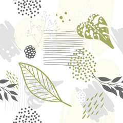 Panel Szklany Minimalistyczny Seamless exotic pattern with plants. Vector