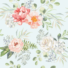 Pink Rose, Peony, Hydrangea Flowers With Green Leaves Bouquets, Light Background. Floral Illustration. Vector Seamless Pattern. Botanical Design. Nature Summer Plants. Romantic Wedding