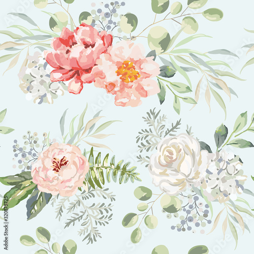 Tapeta zielona  pink-rose-peony-hydrangea-flowers-with-green-leaves-bouquets-light-background-floral-illustration-vector-seamless-pattern-botanical-design-nature-summer-plants-romantic-wedding