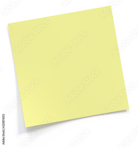 Obraz Yellow post it note 3d rendering - fototapety do salonu