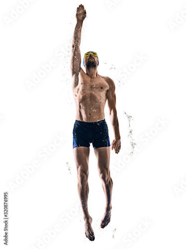 man sport swimmer swimming isolated white background - 320876995