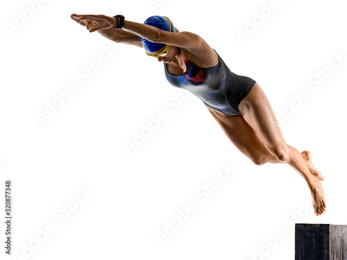 mata magnetyczna woman sport swimmer swimming isolated white background