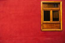 Red Background With Wooden Window