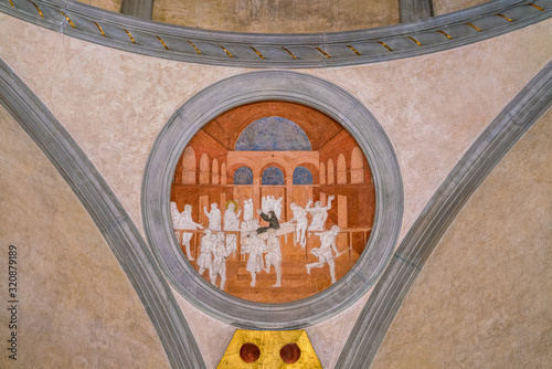 фотография Saint John Evangelist Stories from Donatello in the Sagrestia Vecchia in Saint Lawrence Basilica in Florence