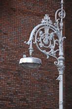 Gray Street Lamp In Retro Styl...