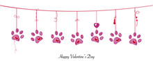 Paw Prints With Hanging Red Hearts. Happy Valentine's Day Banner Style Background Vector Design Element. Happy Valentine's Day Greeting Card