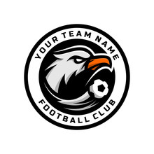Eagle Head Logo For The Football Team Logo. Illustration Vector. With A Combination Of Circle Badges.
