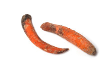 Rotten Carrots On A White Background