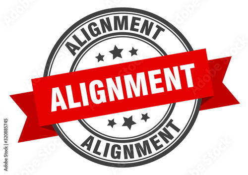 Photo alignment label. alignmentround band sign. alignment stamp