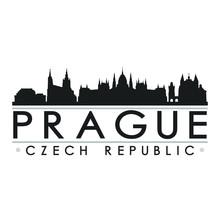Prague Czech Republic Skyline Silhouette Design City Vector Art.