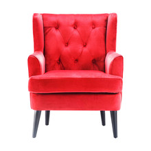 Upholstered Red Wingback Accent Chair Isolated On White Background. Front View Of Modern Wing Club Armchair With Upholstered Wings And Wood Feet. Interior Furniture