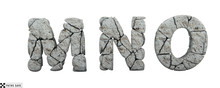 Stone Letters M, N, O. 3d Rend...