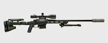 Modern Sniper Rifle On White