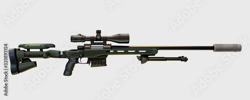 Fotomural modern sniper rifle on white