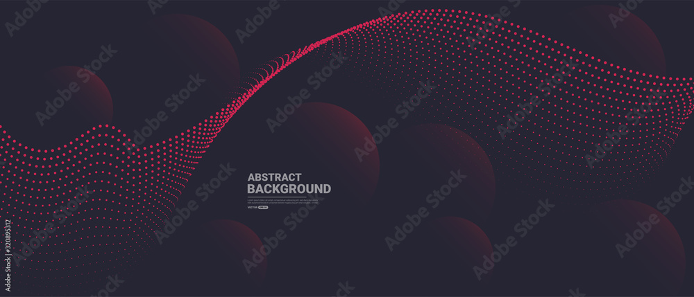 Abstract background with flowing particles. Dynamic waves. vector illustration.