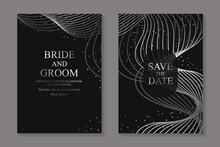 Set Of Modern Luxury Wedding Invitation Design Or Card Templates For Business Or Poster Or Greeting With Silver Waves On A Black Background.