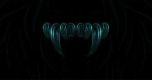 Vampire Sharp Fangs Logotype. Teeth Icon In Liquid Blue Neon Style. Vector Background