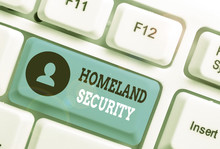 Writing Note Showing Homeland Security. Business Concept For Federal Agency Designed To Protect The USA Against Threats