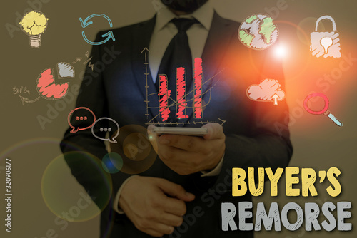 Photo Text sign showing Buyer Remorse
