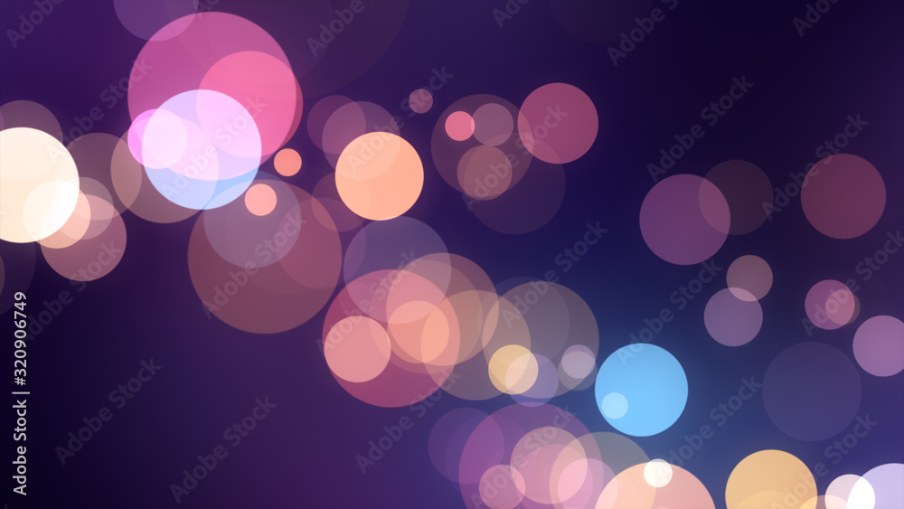 Fototapeta Bright violet bokeh lights abstract background. Flying purple particles or dust. Vivid lightning. Merry christmas design. Blurred light dots.