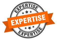 Expertise Label. Expertiseround Band Sign. Expertise Stamp