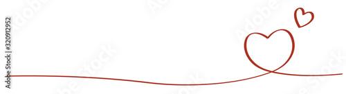Fotografie, Tablou 手書きハートのライン 赤