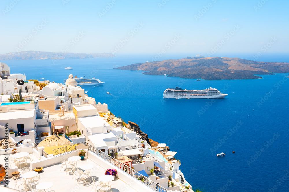 Fototapeta Panoramic view of Santorini island, Greece. Summer landscape with sea view. Famous travel destination