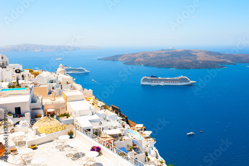 Fototapeta Panoramic view of Santorini island, Greece. Summer landscape with sea view. Famous travel destination obraz