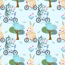 Cute Rabbit And Zebra On Bicyc...