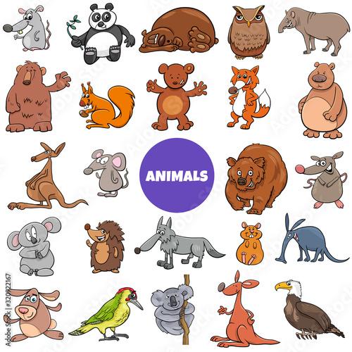 Fototapeta comic wild animal characters large set obraz