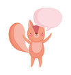 cute squirrel speech bubble cartoon on white background
