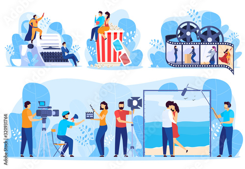 Movie production process from screenplay writing to cinema, vector illustration Canvas Print