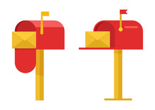 Red Mailboxes With Yellow Enve...