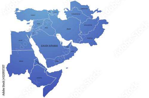 middle east map Fototapet
