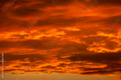 Dramatic Orange Clouds Wallpaper Mural