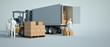 Leinwanddruck Bild - Loading truck on a warehouse